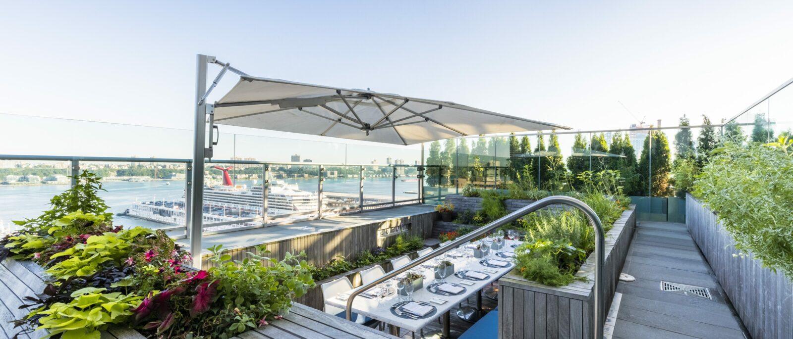 Rooftop garden set for outdoor dining.